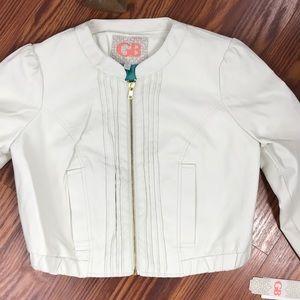 NWT GB Cream Faux Leather Crop Jacket